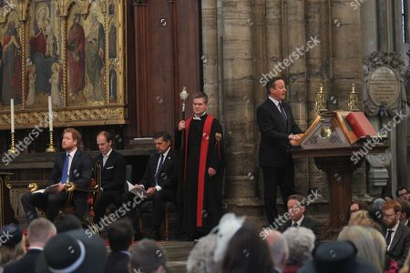 David Cameron MP, Prime Minister, reads from Isaiah, Prince Harry, Frank Gardner.