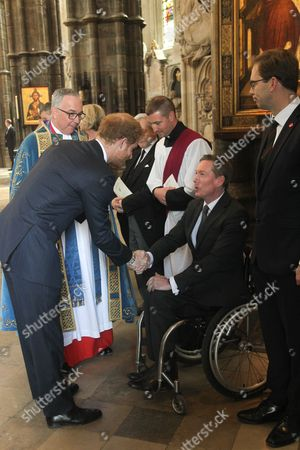 Prince Harry meets Frank Gardner, BBC Security Correspondent, himself a victim from terrorists.