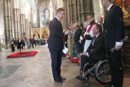 David Cameron, Prime Minister meets Frank Gardner, BBC Security Correspondent, himself a victim from terrorists.