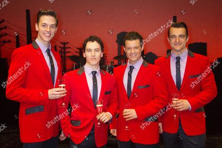 Declan Egan (Bob Gaudio), Matt Corner (Frankie Valli), Simon Bailey (Tommy De Vito) and Matt Hunt (Nick Massi) backstage