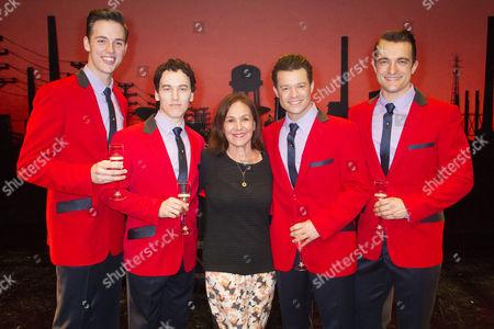 Declan Egan (Bob Gaudio), Matt Corner (Frankie Valli), Arlene Phillips, Simon Bailey (Tommy De Vito) and Matt Hunt (Nick Massi) backstage