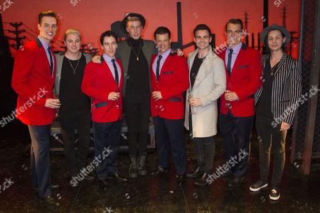 Declan Egan (Bob Gaudio), Matt Corner (Frankie Valli), Simon Bailey (Tommy De Vito) and Matt Hunt (Nick Massi) with Collabro backstage