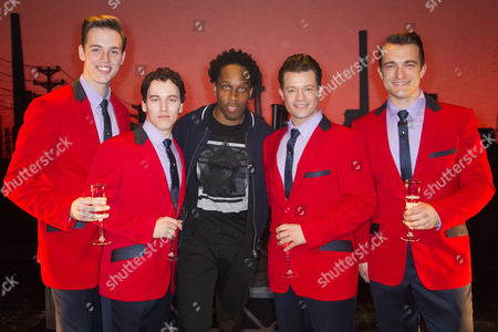 Declan Egan (Bob Gaudio), Matt Corner (Frankie Valli), Lemar, Simon Bailey (Tommy De Vito) and Matt Hunt (Nick Massi) backstage