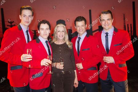 Declan Egan (Bob Gaudio), Matt Corner (Frankie Valli), Lady Colin Campbell, Simon Bailey (Tommy De Vito) and Matt Hunt (Nick Massi) backstage
