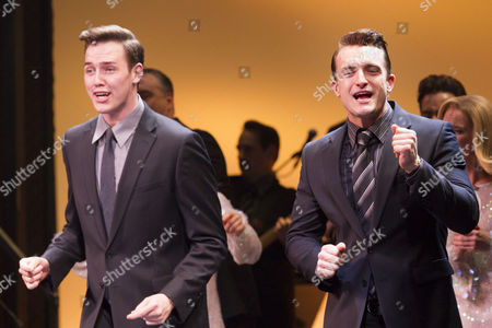Declan Egan (Bob Gaudio) and Matt Hunt (Nick Massi) during the curtain call