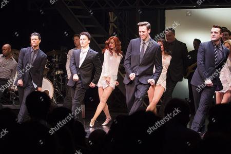 Stock Picture of Simon Bailey (Tommy De Vito), Matt Corner (Frankie Valli), Declan Egan (Bob Gaudio) and Matt Hunt (Nick Massi) during the curtain call