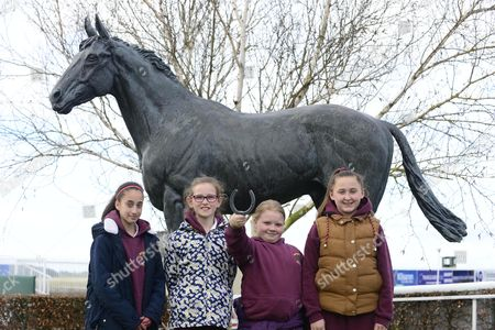 CURRAGH RACECOURSE. Over 500 school kids from the local area were treated to a Horse Racing Ireland educational morning at the County Kildare track this morning and we see kids from Newbridge school enjoying the morning at the Nijinsky Statue, Ruby Thompson, Catherine Howe-Hall, Jessica O'Donoghue and Sophia Deacy.