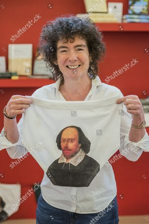 Jeanette Winterson with Shakespeare souvenir underpants to commemorate his 400th anniversary