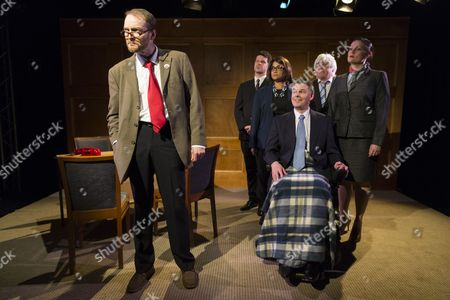 Stock Picture of Cast performing at the press night for Corbyn The Musical: The Motorcycle Diaries, at Waterloo East Theatre in London. Cast members include Martin Neely (Jeremy Corbyn), Natasha Lewis(Diane Abbott) and James Dinsmore (Tony Blair).