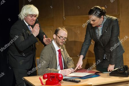 Stock Image of Cast performing at the press night for Corbyn The Musical: The Motorcycle Diaries, at Waterloo East Theatre in London. Cast members include Martin Neely (Jeremy Corbyn), Natasha Lewis(Diane Abbott) and James Dinsmore (Tony Blair).