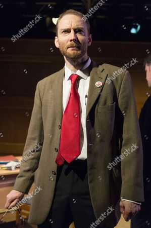Cast performing at the press night for Corbyn The Musical: The Motorcycle Diaries, at Waterloo East Theatre in London. Cast members include Martin Neely (Jeremy Corbyn), Natasha Lewis(Diane Abbott) and James Dinsmore (Tony Blair).