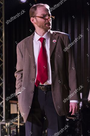 Stock Photo of Cast performing at the press night for Corbyn The Musical: The Motorcycle Diaries, at Waterloo East Theatre in London. Cast members include Martin Neely (Jeremy Corbyn), Natasha Lewis(Diane Abbott) and James Dinsmore (Tony Blair).