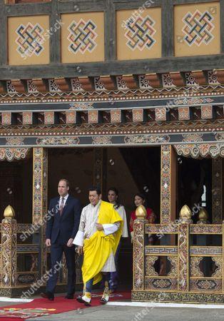 Prince William, King Jigme Khesar Namgyel Wangchuck, Catherine Duchess of Cambridge, Queen Jetsun Pema Wangchuck, Thimphu Dzong