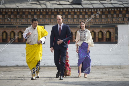King Jigme Khesar Namgyel Wangchuck, Prince William, Catherine Duchess of Cambridge, Thimphu Dzong