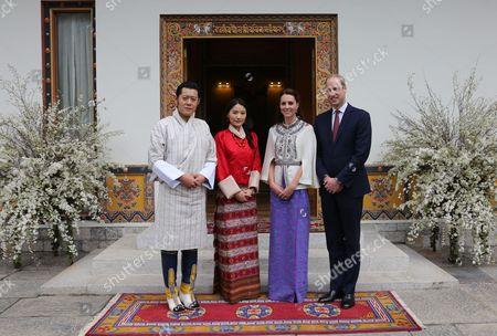 King Jigme Khesar Namgyel Wangchuck, Queen Jetsun Pema, Catherine Duchess of Cambridge, Prince William, Thimphu Dzong