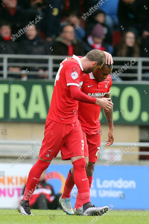 Jay Simpson of Leyton Orient is congratulated after scoring the second goal during Leyton Orient vs Dagenham and Redbridge, Sky Bet League 2 Football at the Matchroom Stadium on 16th April 2016