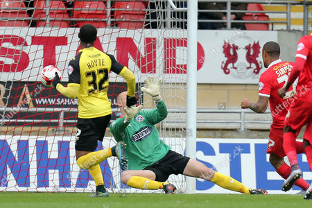 Jay Simpson scores the opening goal during Leyton Orient vs Dagenham and Redbridge, Sky Bet League 2 Football at the Matchroom Stadium on 16th April 2016