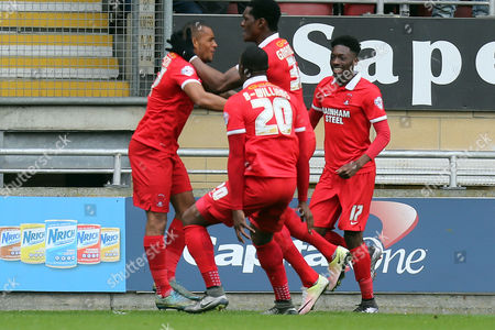 Jay Simpson is congratulated after scoring the opening goal during Leyton Orient vs Dagenham and Redbridge, Sky Bet League 2 Football at the Matchroom Stadium on 16th April 2016