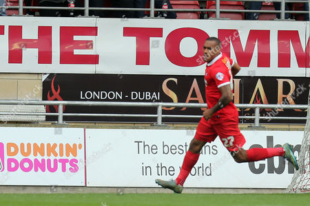 Jay Simpson celebrates scoring the opening goal during Leyton Orient vs Dagenham and Redbridge, Sky Bet League 2 Football at the Matchroom Stadium on 16th April 2016