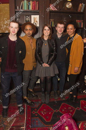 Stock Picture of Joseph Quinn (Maurice), Danny Lee Wynter (Lefranc), Princess Eugenie, Tom Varey (Green-Eyes) and Emma Naomi (The Watch)