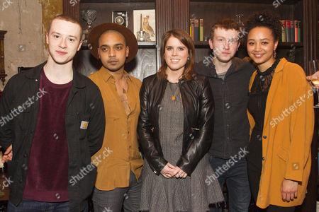 Joseph Quinn (Maurice), Danny Lee Wynter (Lefranc), Princess Eugenie, Tom Varey (Green-Eyes) and Emma Naomi (The Watch)