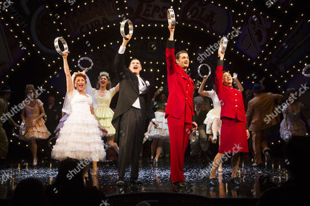 Samantha Spiro (Miss Adelaide), Richard Kind (Nathan Detroit), Oliver Tompsett (Sky Masterson) and Siubhan Harrison (Sarah Brown) during the curtain call