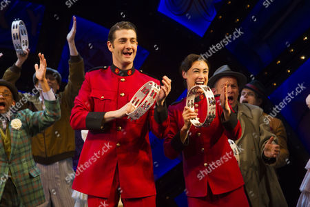 Oliver Tompsett (Sky Masterson) and Siubhan Harrison (Sarah Brown) during the curtain call