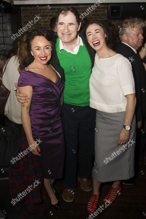 Samantha Spiro (Miss Adelaide), Richard Kind (Nathan Detroit) and Siubhan Harrison (Sarah Brown)