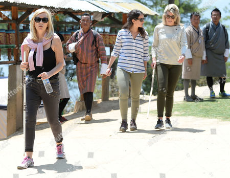 Amanda Cook Tucker (the hairdresser to the Duchess) and Natasha Archer (PA) trek to the Tiger's Nest Monastery in Thimphu