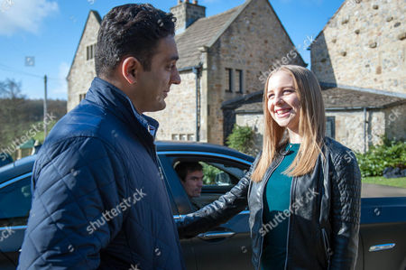 Charity drops Belle Dingle, Eden Taylor-Draper, back off in the village, where Cain Dingle, Jeff Hordley, sees her with Rakesh Kotecha, Pasha Bocarie.