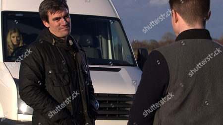Stock Photo of Emmerdale - Ep 7464 Thursday 31 March 2016 - 1st Ep Cain Dingle, Jeff Hordley, is annoyed Moira's given Charity and Ross permission to use the barn. Holly Barton, Sophie Powles, listens in and hears her mother calling her a liar. Cain forms a plan. Soon he tricks Holly into getting in the back of the van, where he locks her in and tells her to ring Dean, Craig Vye, as they're setting him up. On a secluded road they're soon joined by Dean and Cain offers him a deal, if he stays away from Holly. Will it work or will Cain's plan backfire?