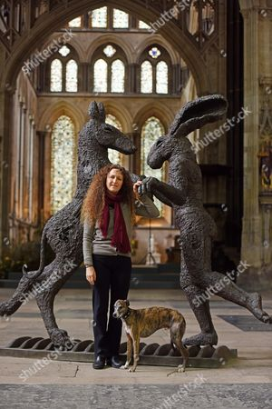 Editorial image of 'Relationships' sculpture exhibition by Sophie Ryder at Salisbury Cathedral, Wiltshire, Britain - 07 Apr 2016