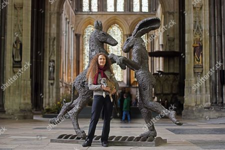 Editorial picture of 'Relationships' sculpture exhibition by Sophie Ryder at Salisbury Cathedral, Wiltshire, Britain - 07 Apr 2016