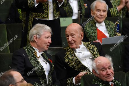 Stock Image of Jules A Hoffmann, Valery Giscard d'Estaing and Jean d'Ormesson
