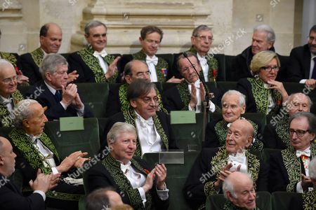 Stock Picture of Jules A Hoffmann, Valery Giscard d'Estaing and Jean d'Ormesson