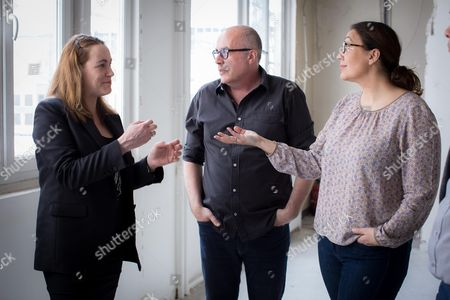 Marylene Vicari (R) and Jerome Richez Founders of the Liberte Living Lab speaks with Axelle Lemaire
