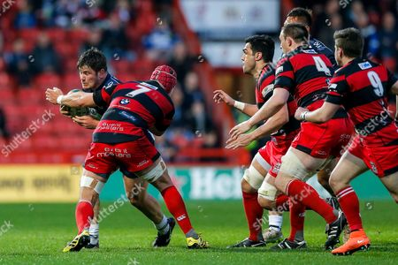 Stock Photo of Bristol Rugby Hooker Marc Jones is tackled by Moseley Flanker Will Keenan