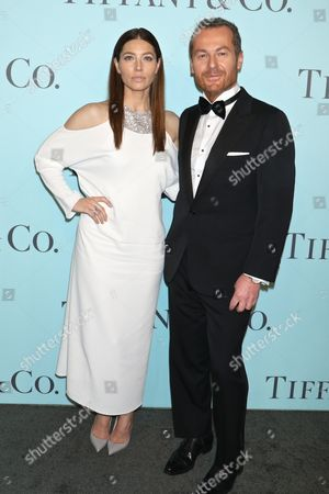 Jessica Biel and Frederic Cumenal, Chief Executive Officer of Tiffany