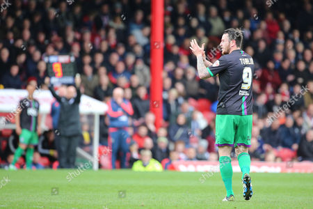 Bristol City striker, Lee Tomlin (9) getting subbed during the Sky Bet Championship match between Brentford and Bristol City at Griffin Park, London