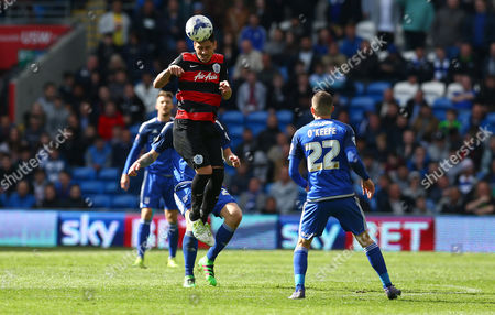 Alejandro Faurlin of QPR wins a header during the Sky Bet Championship match between Cardiff City and QPR played at The Cardiff City Stadium, Cardiff on April 16th 2016