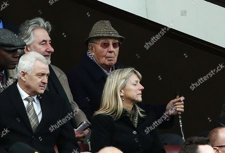 Former Aston Villa chairman Sir Doug Ellis looks dejected during the Barclays Premier League match between Manchester United and Aston Villa played at Old Trafford, Manchester on April 16th 2016