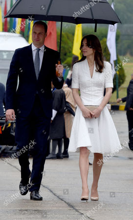 Prince William and Catherine Duchess of Cambridge at Paro International Airport