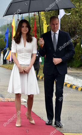 Catherine Duchess of Cambridge and Prince William at Paro International Airport