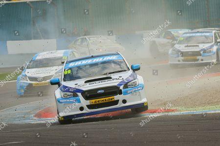 #99 Jason Plato - Subaru Team BMR, Subaru Levorg GT goes through the gravel during the MSA British Touring Car Championship at Donington Park, Castle Donington