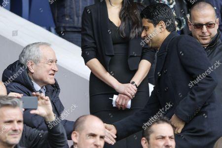 Nasser Al-Khelaifi (PSG) and Jean Tiberi (old mayor of Paris) in presidential stand