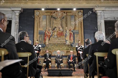 Stock Image of Dario Franceschini, Sergio Mattarella, Gian Luigi Rondi