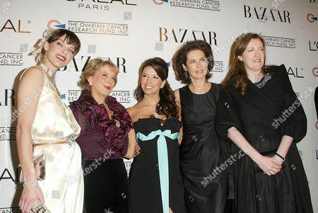 Milla Jovovich, Carol Hamilton, president of L'Oreal Paris, Eva