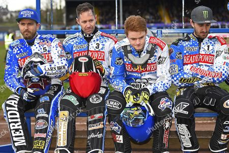 Hans Andersen, Davy Watt, Brady Kurtz and Chris Holder of Poole Pirates during Poole Pirates vs Coventry Bees, Elite League Speedway at The Stadium on 20th April 2016