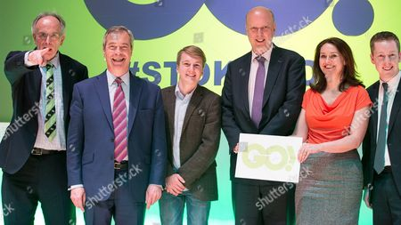 Peter Bone, Nigel Farage, student Oli Lewis, Chris Grayling, physiotherapist Helen Harrison and Tom Pursglove MP on the stage