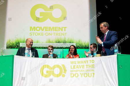Nigel Farage (right) applauds Chris Grayling (left) along with student Oli Lewis, physiotherapist Helen Harrison and Tom Pursglove MP, after Chris Grayling's speech the stage